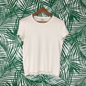 Madewell White Lettuce Trim Baby Tee size Large